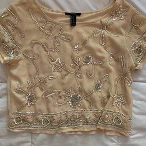 Forever 21 Short Sleeve Sparkly Blouse Size Small